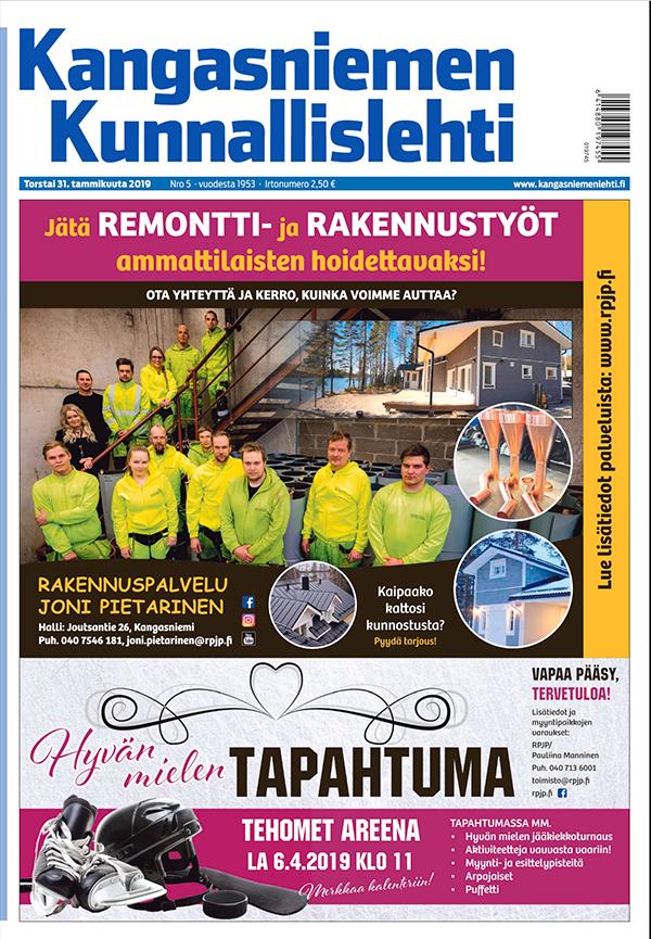 Rakennuspalvelu Joni Pietarinen, mainos Kunnallislehdessä 17.1.2019.