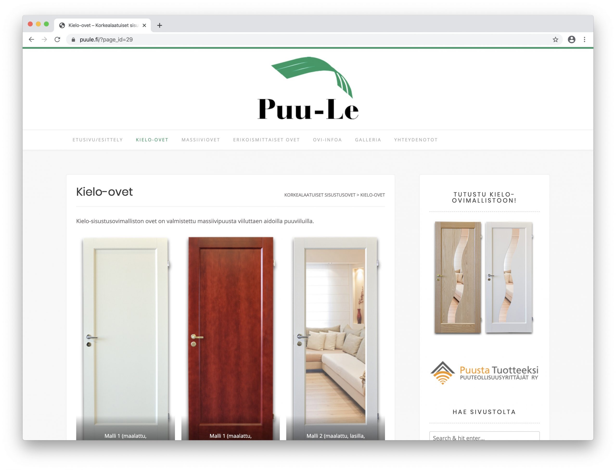 Puu-Le Oy:lle uudet www-sivut