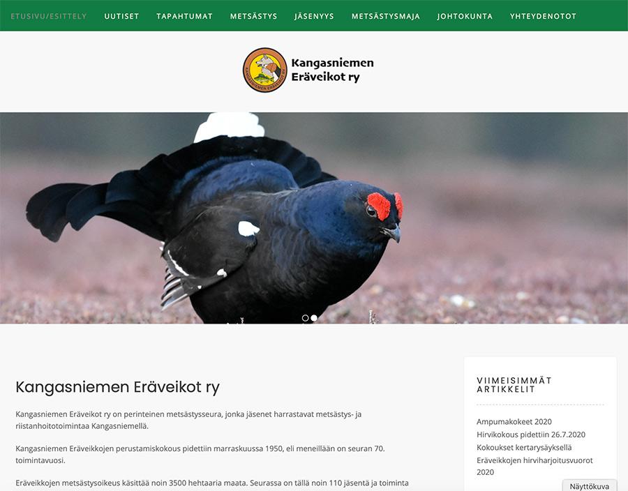 Kangasniemen Eräveikoille uusi www-sivusto